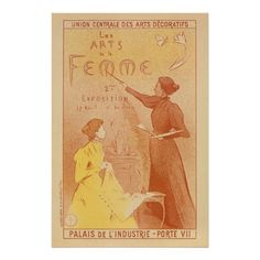 French Women's art exposition vintage Posters