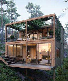 Glass House Design, Tiny House Design, Modern House Design, Modern Glass House, Modern Wooden House, Tiny House Cabin, Cabin Homes, Container House Plans, Container Homes