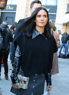 Jennifer Connelly spotted on the street at Paris Fashion Week. Photographed by Phil Oh.