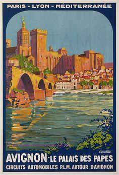 Roger Broders 1922 Avignon Palais Des Papes Train Plm 76,5X105,5 Edia