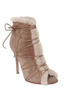 100MM SHEARLING LACE-UP ANKLE BOOTS