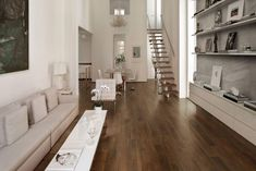 Ceramiche Supergres 'Prive' wood-effect porcelain tile. Wood Effect Porcelain Tiles, Hardwood Floors, Flooring, Living Room, Furniture, Home Decor, Google, Crystal, Street