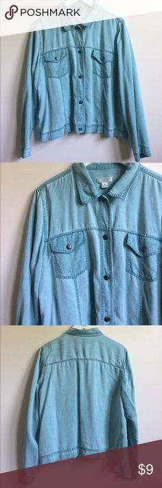 denim shirt labeled xl fits like large Tops