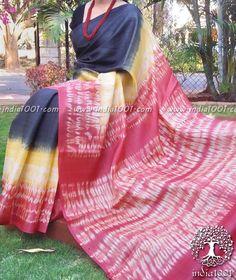 Clamp Dyed Kosa Tussar Silk Saree