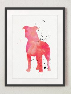 Pink Pitbull Art Print Gift Idea. American Staffordshire Terrier Watercolor Painting Home Decor. Dog Silhouette Girls Room Decoration. Colorful Pit Bull Dog Breeds Illustration. Type of paper: Prints up to (42x29,7cm) 11x16 inch size are printed on Archival Acid Free 270g/m2 White Watercolor Fine Art Paper and retains the look of original painting. Larger prints are printed on 200g/m2 White Semi-Glossy Poster Paper. Colors: Archival high-quality 10-cartridge Canon Lucia Pigment Inks with a…