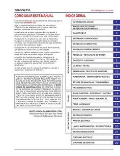 COMOUSARESTEMANUAL Este manual descreve os procedimentos de serviço para a motocicleta SHADOW 750. Siga as recomendações d...