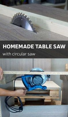 Homemade table saw by using regular circular saw.