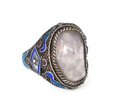 Vintage Chinese export silver filigree enamel rose quartz ring. Hallmarks: made in china and silver. Measurements: the band is a size 7-1/2, but is