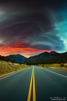 Prophetic Memories by kkart on deviantART lenticular clouds in autumn, Rocky Mountain National Park at sunrise, Colorado Beautiful Roads, Beautiful Sky, Beautiful Landscapes, Beautiful World, Beautiful Places, Photo Backgrounds, Background Images, Photography Backgrounds, Landscape Photography