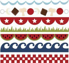 Summer Borders Free SVG file watermelon, waves, stars, grass, checkerboard