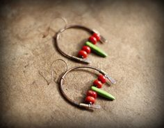 Boho Earrings Copper Hoops Tribal Horseshoe Dangles by Triballa