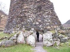 A Broch. An Pictish iron age drystone tower, scotland. Like the 'dun' of Medraut's stronghold, The Silurian, book 5, Facing the Bear; Bedwyr stays in one on Dun Pendyr Hill...