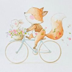 Yuhuuuu! #childrensillustration #artsy #watercolor #watercolorpainting #illustration #watercolour #myartwork #fox #myart #etsy #aidazamora #cuteanimals #bicycle #acuarela #flower #rabbit #drawing #handpainted #nurseryart #spring #ilustracioninfantil #artist #draw #bunny #cute #instaart #art_we_inspire #artoftheday #arts_help #art