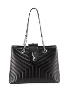 784bbb24b30d V3TP3 Saint Laurent Loulou Monogram YSL Large Quilted Shoulder Tote Bag -  Nickel Oxide Hardware
