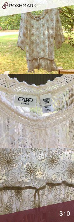 Cato Sheer Lace Cream colored top size 26/28W Cato cream lace sheer top sz 26/28W. Excellent condition! Cato Tops