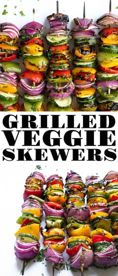 Grilled These easy Grilled Veggie Skewers are perfectly charred drizzled with tangy balsamic vinegar and brushed with a fresh garlic herb sauce. Made with red onion zucchini and colorful bell peppers More Ingredients Vegan Gluten free Paleo Serves 4 Sweet Barbecue Sauce Recipe, Honey Barbecue Sauce, Pork Barbecue, Bbq Ribs, Vegetable Soup Healthy, Healthy Vegetables, Vegetable Salad, Best Vegetables To Grill, Vegetable Kebabs