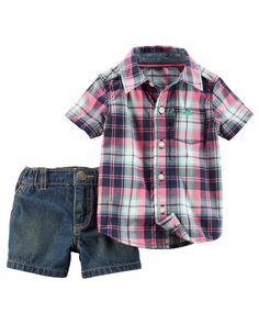 Baby Boy 2-Piece Button-Front Top & Short Set | Carters.com