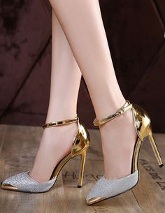Glitter High Heels Ankle Strap Pointed Toe Women s Pumps Shoes With Metal  Details 23ee3caacc0b