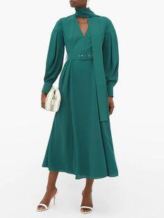 Farnia scarf-tie V-neck crepe midi dress Calf Length Skirts, Emilia Wickstead, Costume Design, Pleated Skirt, Bodice, Duster Coat, Wrap Dress, V Neck, Woman Fashion