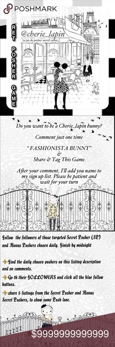 """🐰3/2 Snuggle Lapin @jjj9_4 🐰 💥Comment """"FASHIONISTA BUNNY"""" to join the list of future Lapin Picks. Please be a Posh Compliant closet before sign up.  💥Follow the 💎Followers of a chosen SPG Team SP and my daily SP & BSP Lapin Picks.  💥Share 5+ """"For Sale"""" items from the SP & BSP closets daily.            🎉CONGRATULATIONS🎉               3/2 Daily Lapin Picks:   🌟SPG Team SP: @peg25 🐰Love Lapin SP: @waytruthlife 🐰Snuggle Lapin BSP: @jjj9_4 🐰Rascally Lapin BSP: @whoogivesahoot Shoes"""