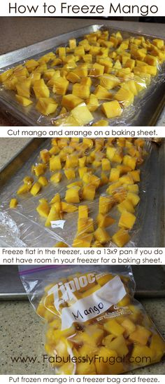 to Cut and Freeze Mango Recipes How to freeze mango- the bottom of the page has a lot of how to freeze ________ links.How to freeze mango- the bottom of the page has a lot of how to freeze ________ links. Frozen Fruit, Frozen Meals, Freezing Fruit, Freezing Vegetables, Veggies, How To Cut A Mango, Mango Recipes, Freezer Cooking, Food Hacks