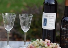 Vintage Floral Etched Glass Wine Port Wine by Antiquevintagefind