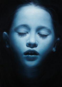 'Payton Blue', hyper-realistic painting © by Gottfried Helnwein