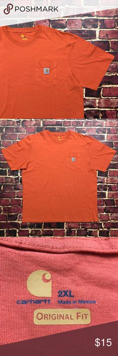 Carhartt Pocket Tee Work Shirt Orange 2X Tshirt Carhartt Pocket Shirt Mens Size 2X-Large in Safety Orange  Overall Good Shape. Shows minimal wear, no rips or tears.  Mens Size 2X. Classic logo on front pocket. Bright safety orange color way, a bit worn from age/washes but still in great shape!  See Photos.  Plenty of other items for sale & always listing more! Be sure to check out my store & give me a follow Carhartt Shirts Tees - Short Sleeve