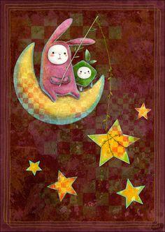 Wish upon a star Baby Illustration, Illustrations, Tangle Art, Felt Quiet Books, Good Night Moon, Goddess Art, Creative Pictures, Dream Art, Stars And Moon