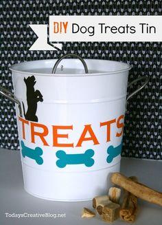 cute dog treat holder using Silhouette Vinyl Crafts