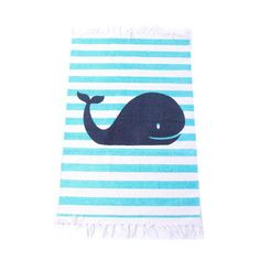 19,90EUR Teppich blau gestreift mit Wal Fisch