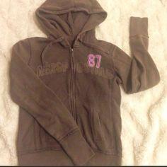 ✨Latte ☕️Faded Brown Aero Hoodie w/ Pink87 Logo✨ Aeropostale's Adorable Latte Brown-Fade Hoodie with Aero's 87 Logo in PinkCute Look With Cut-Offs, Jeans,/Leggings! Three Quarter Length Zipper Makes it Easy to Wear!✨ Aeropostale Tops Sweatshirts & Hoodies
