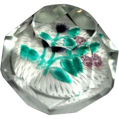 French Art Glass Signed Bouquet Paperweight with TWENTY-FOUR Facets.