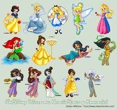 Disney Princesses+Heroines by ~rewynd-studio on deviantART