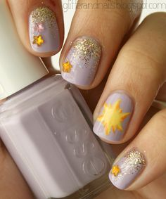Glitter and Nails: Je suis une chouette princesse : nail art Raiponce