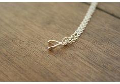 tiny sterling wishbone necklace