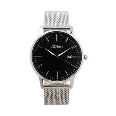 Lá Veto Silver and Black Mesh Band Watch. Our is an ultra slim design that boasts elegance and sophistication. This classic timepiece is simple yet styl Mesh Band, Black Mesh, Watches, Silver, Accessories, Money, Clocks, Clock