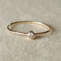 Coupon Code CLOSING - Thread of Gold - Tiny Stacking Ring with 14k Gold Set Faceted Stone of Your Choice - Delicate | http://jewelryulises.blogspot.com