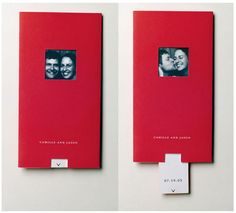 These photo-booth invites use a pull-tab to show different images and reveal the event details.