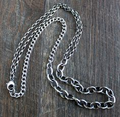 Men's Rustic Silver Mixed Chain Necklace