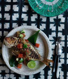 Grilled fish with sambal matah, watermelon and cucumber recipe | Dan Hong recipe :: Gourmet Traveller