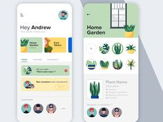 Style exploration / Plants care app by Anass Drissi Web Design, Graphic Design, Design Layouts, Flat Design, Online Video Games, Interface Design, User Interface, Game App, App Ui