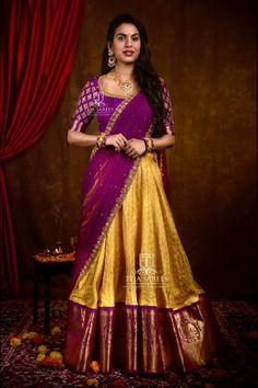 Ideas For Bridal Lehenga Color Combinations Purple Lehenga Saree Design, Half Saree Lehenga, Pattu Saree Blouse Designs, Half Saree Designs, Lehnga Dress, Wedding Saree Blouse Designs, Fancy Blouse Designs, Lehenga Designs, Bridal Lehenga