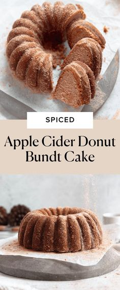 Take all your favorite flavors of an apple cider donut and make them into an easy bundt cake. This apple cider bundt cake is tender, moist, spiced to perfection and coated in a buttery, cinnamon sugar for the ultimate Fall treat. The only thing better than an apple cider donut is a GIANT apple cider donut, which is exactly what this apple cider donut bundt cake tastes like. Homemade Cake Recipes, Donut Recipes, Apple Recipes, Apple Bundt Cake Recipes, Muffin Recipes, Breakfast Recipes, Apple Cider Donut Cake Recipe, Apple Cider Donuts, Bunt Cakes