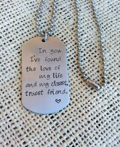 Hand stamped stainless steel tag Love quote by CMKreations on Etsy, $16.00