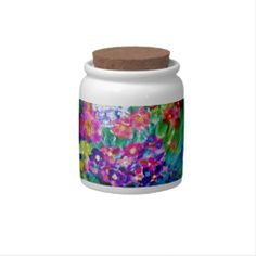 Whimsical Summer Day Designer Flower Candy Jar Beautiful Whimsical Summer Day Designer Flower Candy Jar designed by artist Marie-Jose Pappas of Innocent Originals. http://www.zazzle.com/whimsical_summer_day_designer_flower_candy_jar-165817470836397821