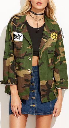 Army Green Camo Print Patch Coat With Pocket