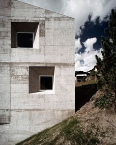 Facade of the Presenhuber house by Swiss architects AFGH. Seeing the imprint of the formwork on concrete makes the material so much more real.