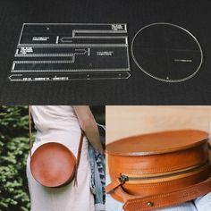 Leather Craft Clear Acrylic Shoulder Bag Round Bag Pattern Stencil Template DIY