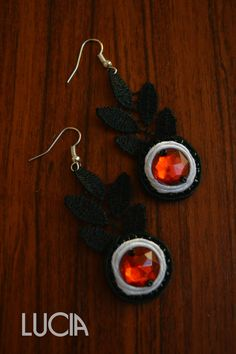 Black and white soutache and lace earrings by LuciaProducts
